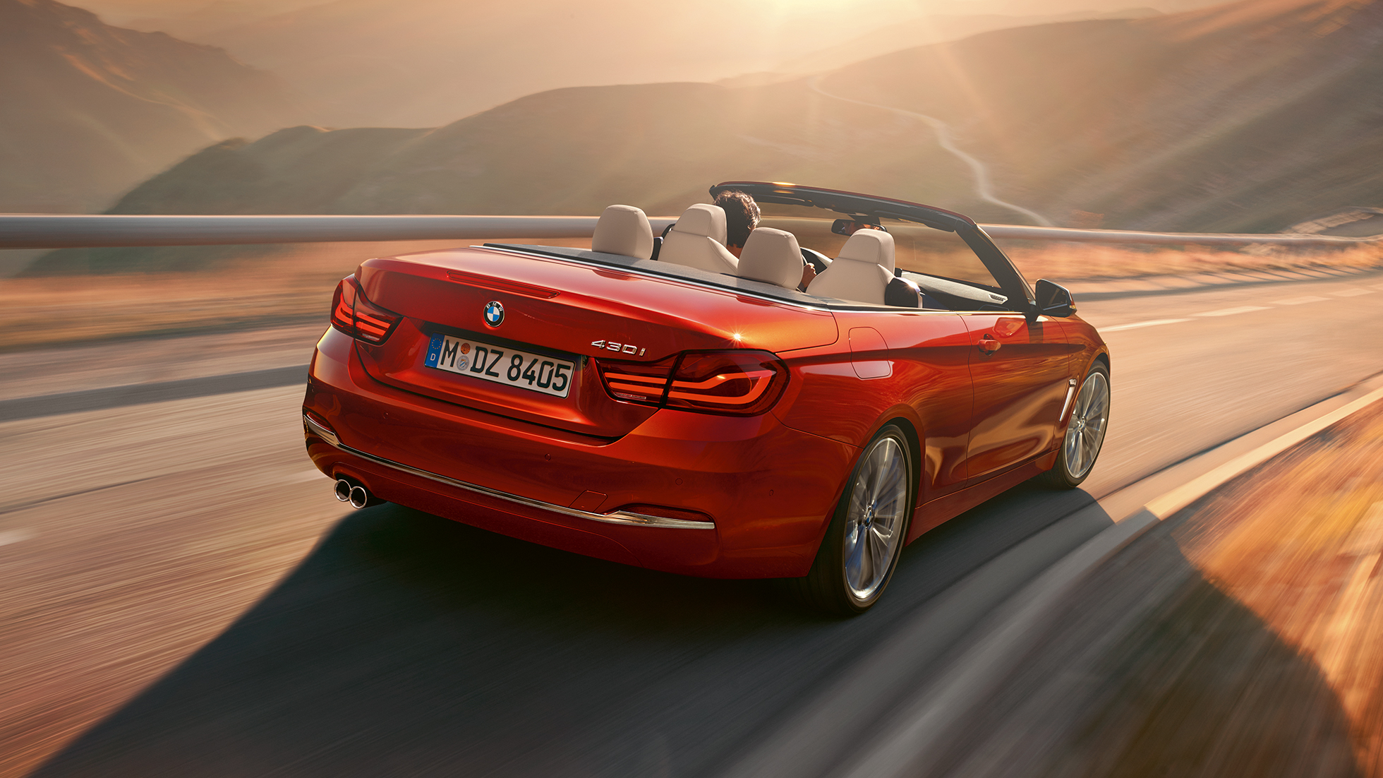 BMW 4 Series Convertible, driving shot rear